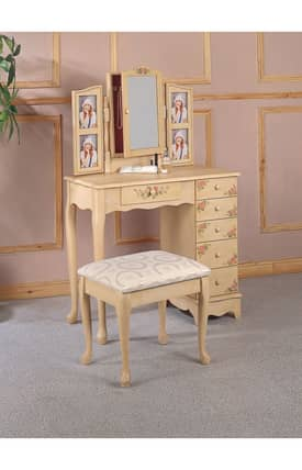 Coaster Company Vanity Sets Traditional Vanity With Hand Painting And Stool Set Furniture