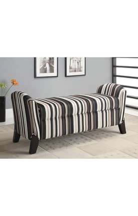 Coaster Company Benches Contemporary Striped Storage Bench Furniture
