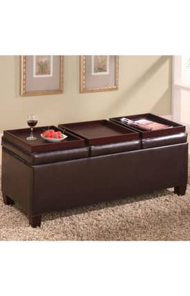 Coaster Company Ottomans Contemporary Faux Leather Storage Ottoman Furniture