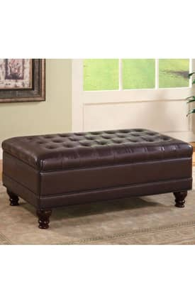 Coaster Company Ottomans Traditional Faux Leather Storage Ottoman Furniture