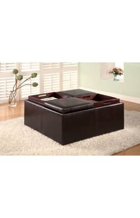 Coaster Company Ottomans Contemporary Square Storage Ottoman With Tray Tops Furniture