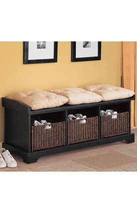 Coaster Company Benches Contemporary Storage Bench With Basket Furniture