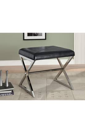 Coaster Company Benches Contemporary Upholstered Ottoman Bench With Metal Stretcher Furniture