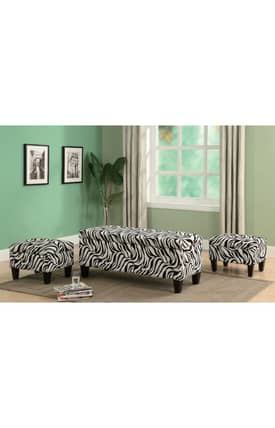 Coaster Company Bench Sets Contemporary Zebra Print 3 Piece Storage Bench And Ottoman Set Furniture