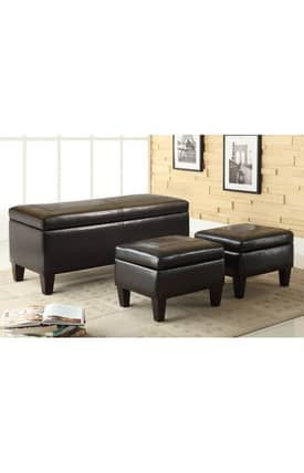 Coaster Company Bench Sets Contemporary 3 Piece Storage Bench And Ottoman Set Furniture