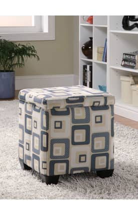 Coaster Company Ottomans Contemporary Grid Print Upholstered Storage Ottoman Furniture