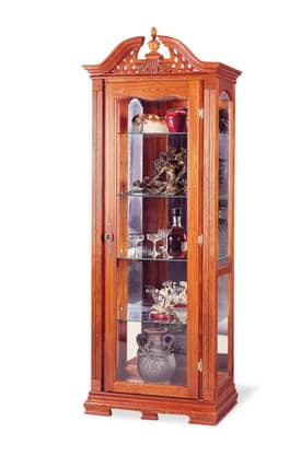 Coaster Company Cabinets Traditional 5 Shelf Curio Cabinet With Door And Ornate Wood carved Top Furniture