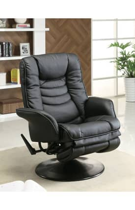 Coaster Company Recliners Contemporary Leatherette Swivel Recliner Furniture