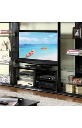 Coaster Company TV Stands Contemporary Entertainment Center TV Stand With Glass Shelves Furniture