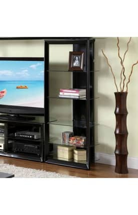 Coaster Company Media Towers Contemporary Entertainment Center Media Tower With Glass Shelves Furniture