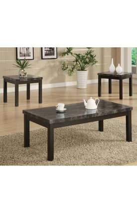 Coaster Company Tables Contemporary 3 Piece Occasional Table Set With Marble Look Top Furniture