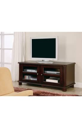 Coaster Company TV Stands Contemporary Media Console With Glass Door And Shelves Furniture