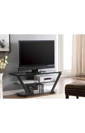 Coaster Company TV Stands Contemporary TV Stand With Glass Shelves Furniture