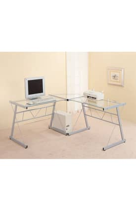 Coaster Company Desks Contemporary Metal L Shaped Desk With Glass Top Furniture