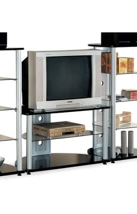 Coaster Company TV Stands Contemporary Wall Unit TV Stand With Glass Shelves Furniture