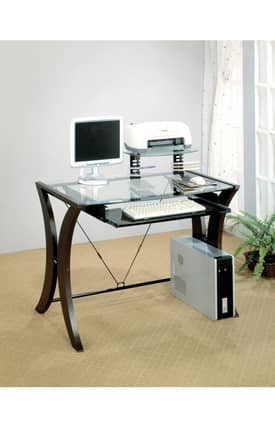 Coaster Company Desks Division Contemporary Computer Desk With Glass Top Furniture