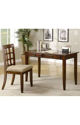Coaster Company Desks Wood Table Desk With Two Drawers And Desk Chair Furniture