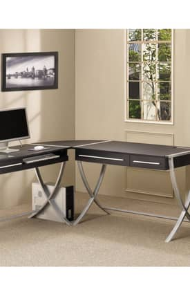 Coaster Company Desks Contemporary Modern X Style Computer Corner Desk Furniture