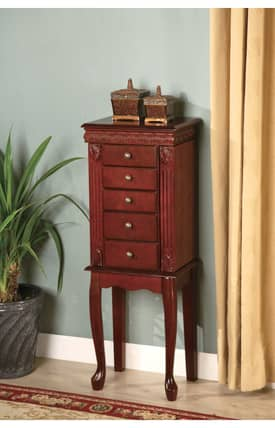 Coaster Company Armoires Traditional Five Drawer Jewelry Armoire With Fluted Detail Furniture