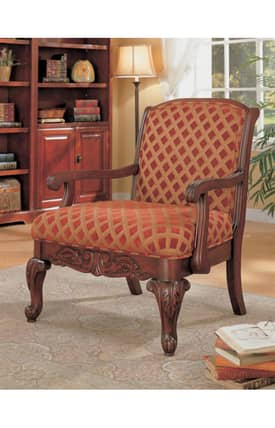 Coaster Company Chairs Traditional Upholstered Accent Chair With Wood Armrests Furniture