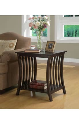 Coaster Company Tables Contemporary Accent Table With Inlay Shelf Furniture