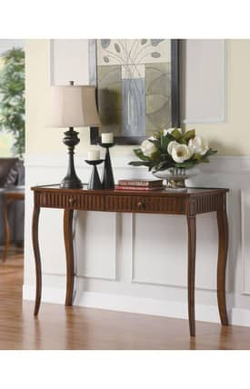 Coaster Company Tables Traditional Two Drawers Console Table With Glass Inlay Top Furniture