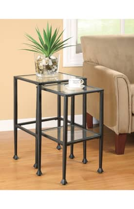 Coaster Company Tables Contemporary 2 Piece Nesting Table Set With Glass Furniture