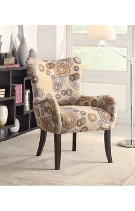 Coaster Company Chairs Contemporary Circles Print Upholstered Accent Chair Furniture