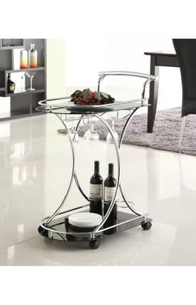 Coaster Company Kitchen Carts Contemporary Kitchen Cart With Glass Shelves Furniture