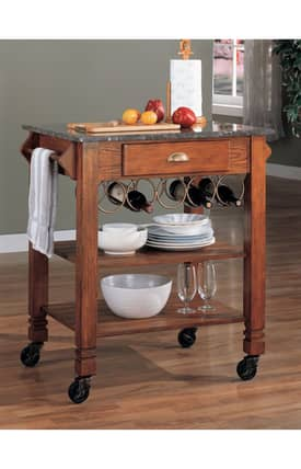 Coaster Company Kitchen Carts Traditional Kitchen Cart With Shelves And Wine Rack Furniture