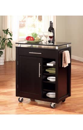 Coaster Company Kitchen Carts Contemporary Kitchen Cart With Storage Cabinet Furniture