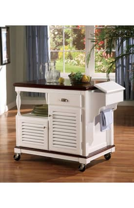Coaster Company Kitchen Carts Traditional Kitchen Cart With Storage Cabinet Furniture
