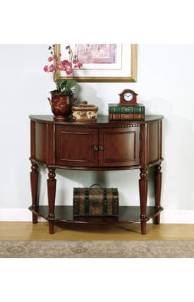 Coaster Company Tables Traditional Console Table With Curved Front And Inlay Shelf Furniture