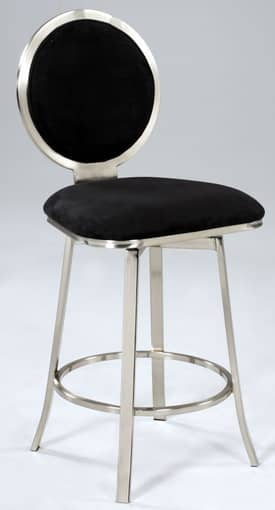 Chintaly Imports Stools Upholstered Round Back Memory Swivel Bar Height Bar Stool Furniture
