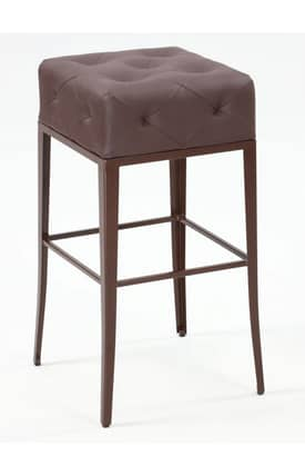 Chintaly Imports Stools Square Backless Stitched Seat Bar Height Bar Stool Furniture
