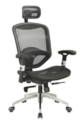Chintaly Imports Chairs Mesh Seat & Back with Headrest Multi Adjustable Office Chair Furniture