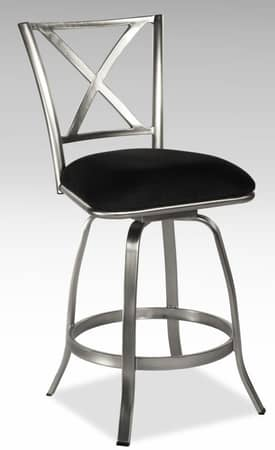 Chintaly Imports Stools Audrey Contemporary X Back Swivel Bar Height Bar Stool Furniture