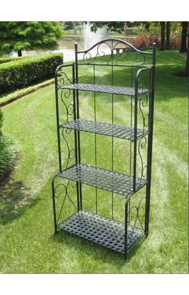 Lauren & Co Outdoor Mandalay Iron Folding Bakers Rack Furniture