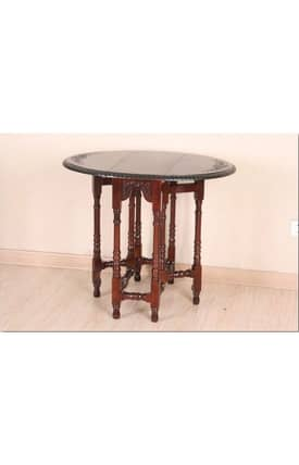 Lauren & Co Tables Carved Wood Oval Fold Out Table Furniture