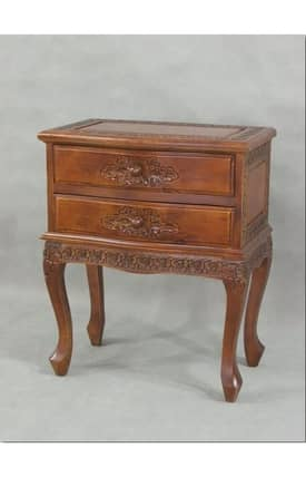 Lauren & Co Tables Carved Wood Two Drawer Table Furniture