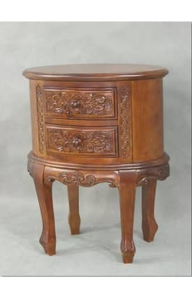 Lauren & Co Tables Carved Two Drawer Oval What Not Table Furniture