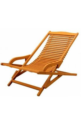 Lauren & Co Outdoor Royal Tahiti Folding Slatted Lounge Chair Furniture