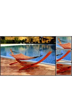 VIFAH Outdoor Living In Style Wood Hammock Stand in Classic Arc Design Furniture