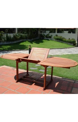 VIFAH Outdoor Living In Style Wood Rectangular Extension Table Furniture