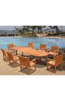 VIFAH Outdoor Living In Style Oval Extension Table And Wood Armchair Dining Set Furniture