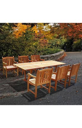 VIFAH Outdoor Living In Style English Garden Dining Set With Rectangular Extension Table Furniture