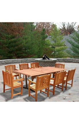 VIFAH Outdoor Living In Style Rectangular Extension Table And Wood Armchair Dining Set Furniture