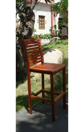 VIFAH Outdoor Living In Style Acacia Bar Stool Furniture