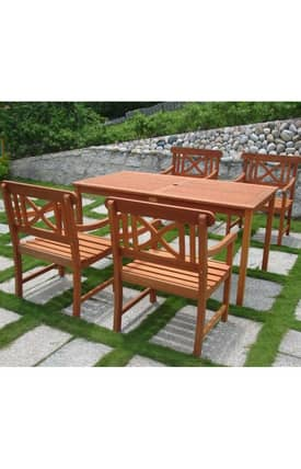 VIFAH Outdoor Living In Style Balthazar Rectangular Table And Armchair Dining Set Furniture