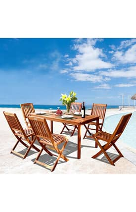 VIFAH Outdoor Living In Style Wood Dining Set Furniture